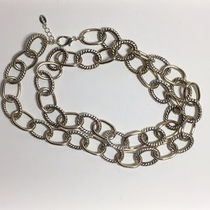 Express silver rope and gold tone necklace